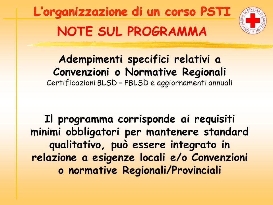 L'organizzazione di un corso PSTI