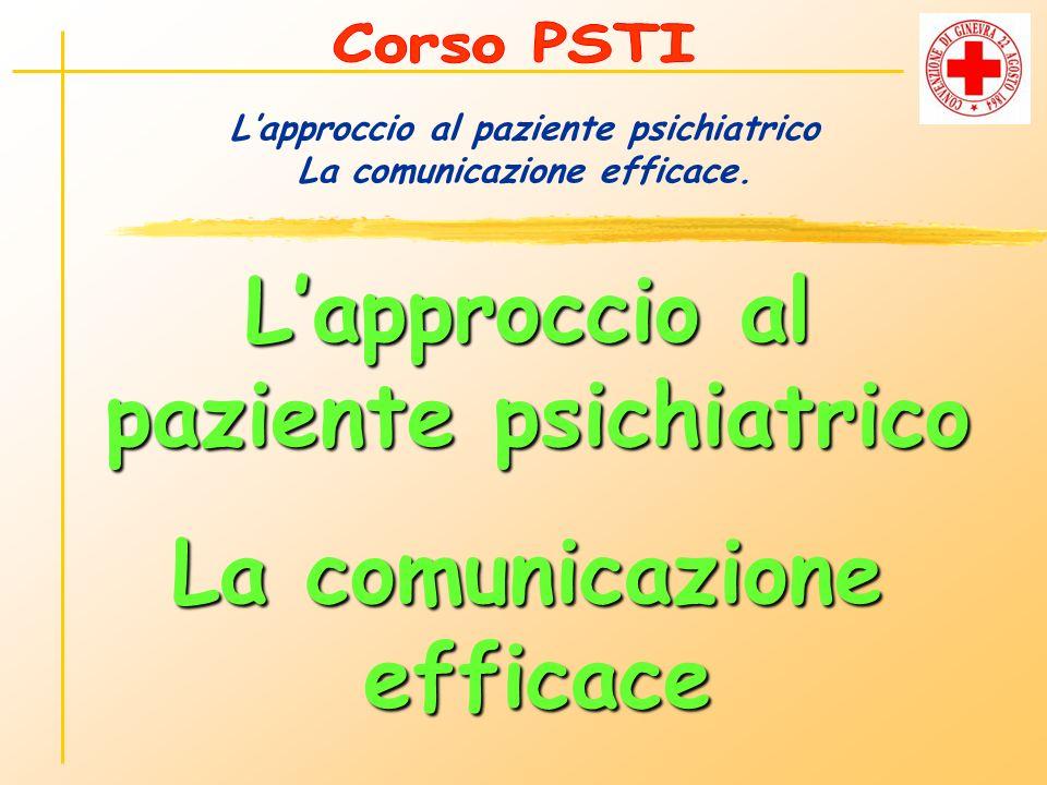 L'approccio al paziente psichiatrico La comunicazione efficace.