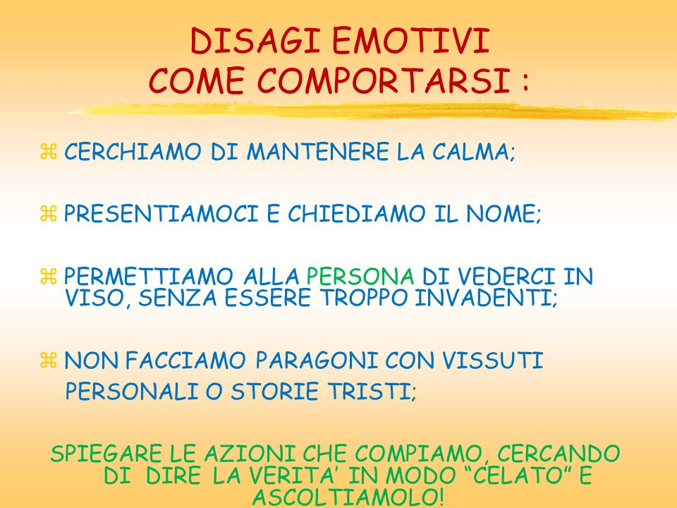 DISAGI EMOTIVI COME COMPORTARSI :