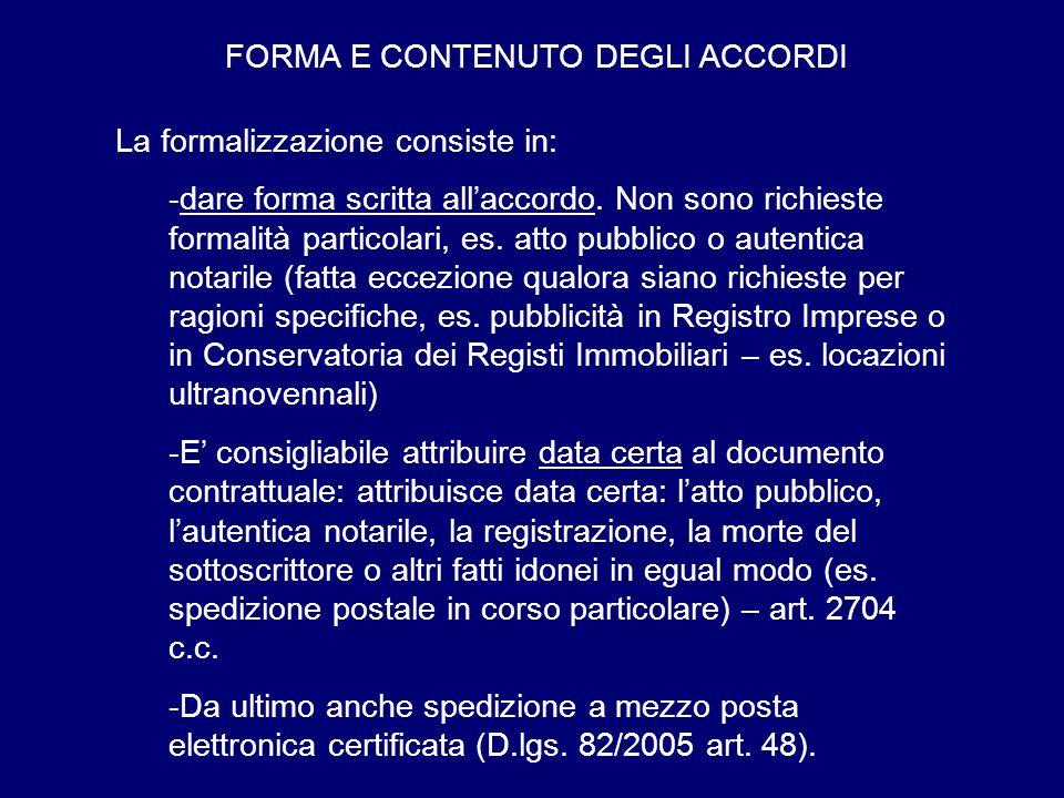 FORMA E CONTENUTO DEGLI ACCORDI