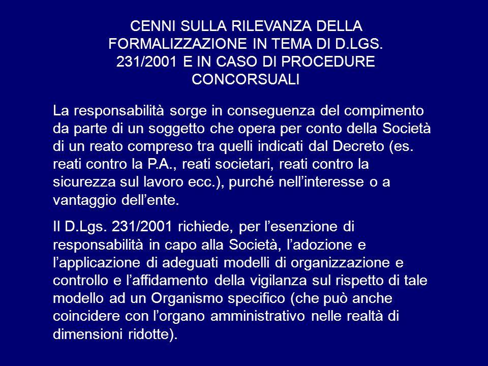 CENNI SULLA RILEVANZA DELLA FORMALIZZAZIONE IN TEMA DI D. LGS