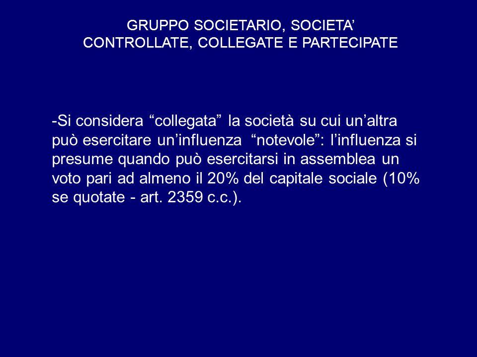 GRUPPO SOCIETARIO, SOCIETA' CONTROLLATE, COLLEGATE E PARTECIPATE