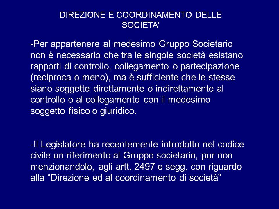 DIREZIONE E COORDINAMENTO DELLE SOCIETA'