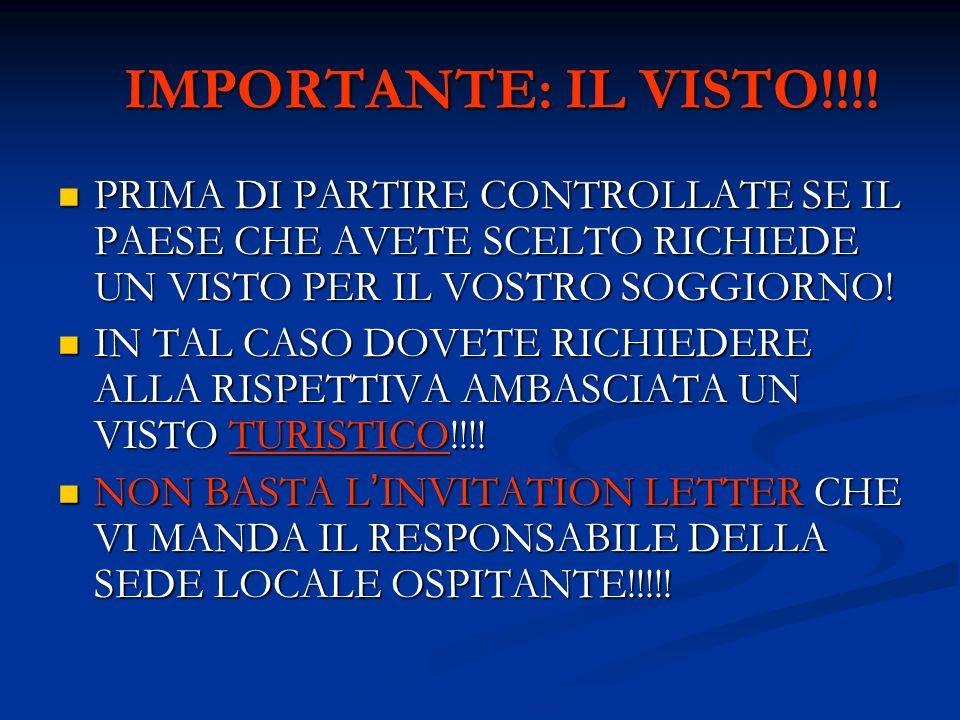 IMPORTANTE: IL VISTO!!!! PRIMA DI PARTIRE CONTROLLATE SE IL PAESE CHE AVETE SCELTO RICHIEDE UN VISTO PER IL VOSTRO SOGGIORNO!