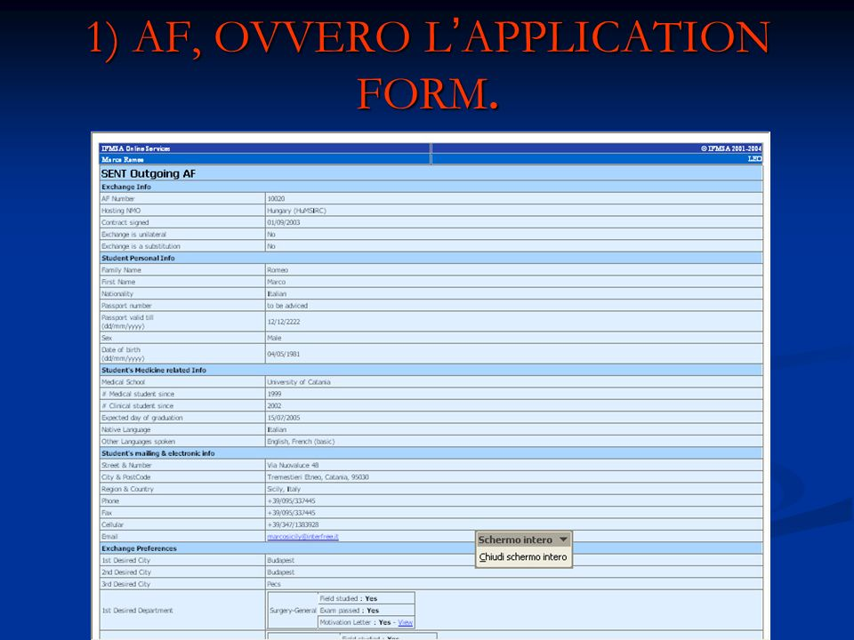 1) AF, OVVERO L'APPLICATION FORM.