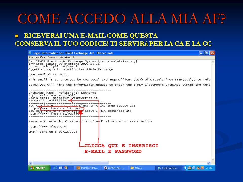 COME ACCEDO ALLA MIA AF RICEVERAI UNA E-MAIL COME QUESTA