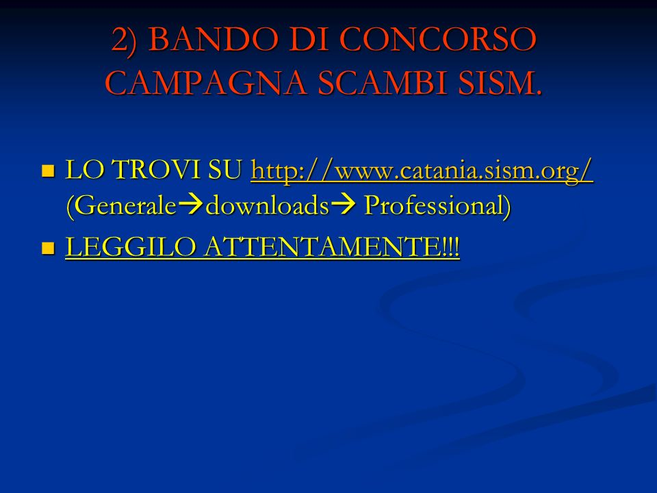2) BANDO DI CONCORSO CAMPAGNA SCAMBI SISM.