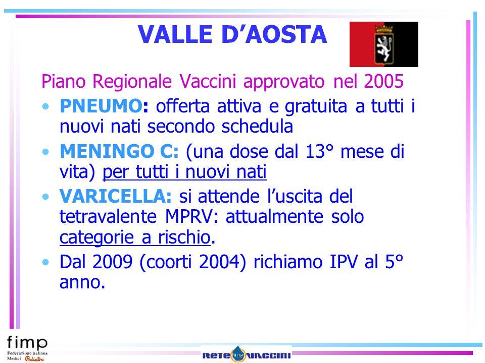VALLE D'AOSTA Piano Regionale Vaccini approvato nel 2005