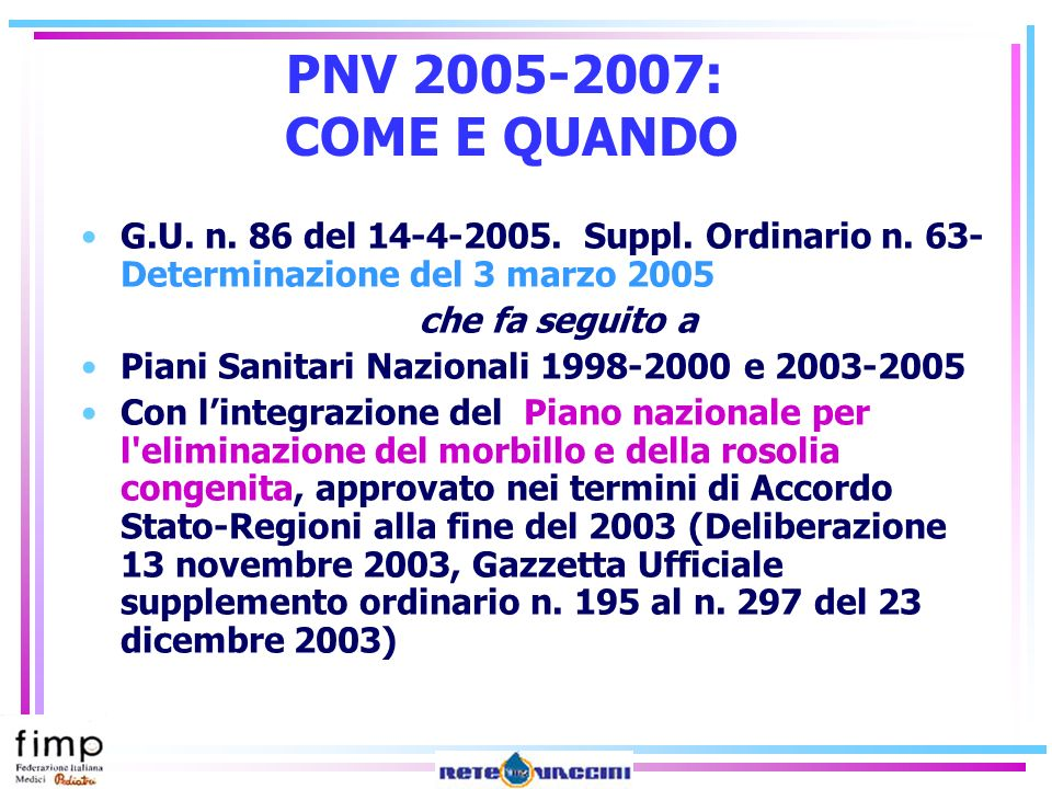 PNV 2005-2007: COME E QUANDOG.U. n. 86 del 14-4-2005. Suppl. Ordinario n. 63- Determinazione del 3 marzo 2005.