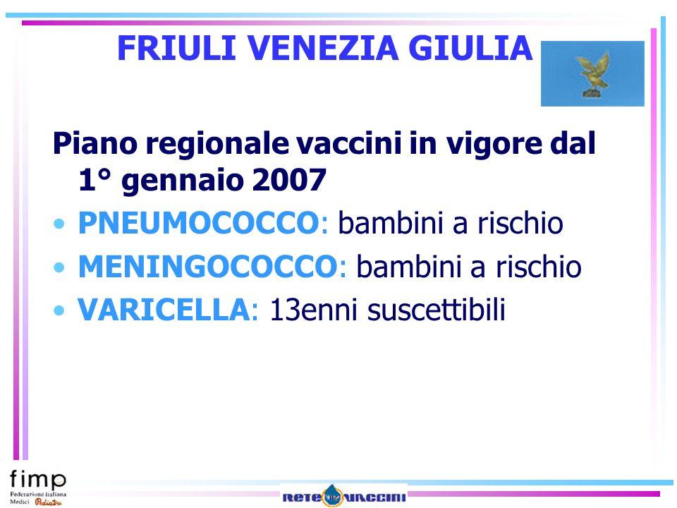 FRIULI VENEZIA GIULIA Piano regionale vaccini in vigore dal 1° gennaio 2007. PNEUMOCOCCO: bambini a rischio.