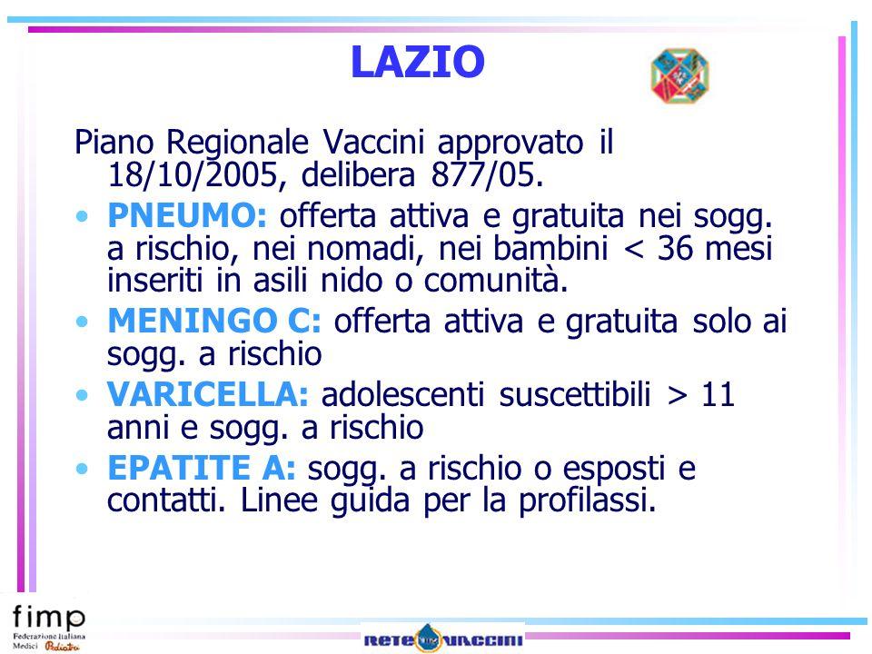 LAZIO Piano Regionale Vaccini approvato il 18/10/2005, delibera 877/05.
