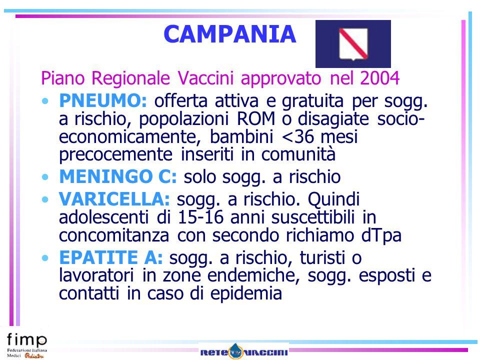 CAMPANIA Piano Regionale Vaccini approvato nel 2004