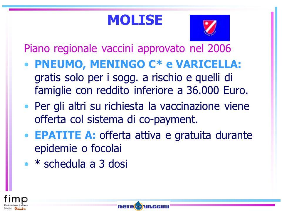 MOLISE Piano regionale vaccini approvato nel 2006