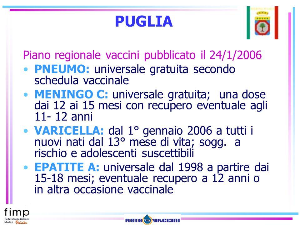 PUGLIA Piano regionale vaccini pubblicato il 24/1/2006