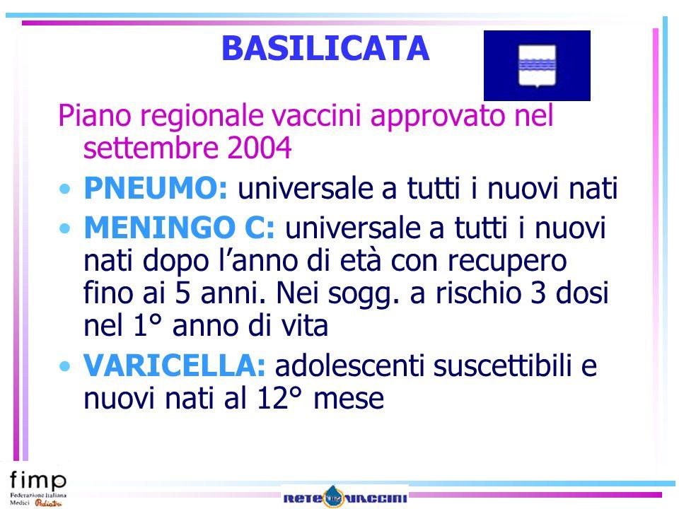 BASILICATA Piano regionale vaccini approvato nel settembre 2004