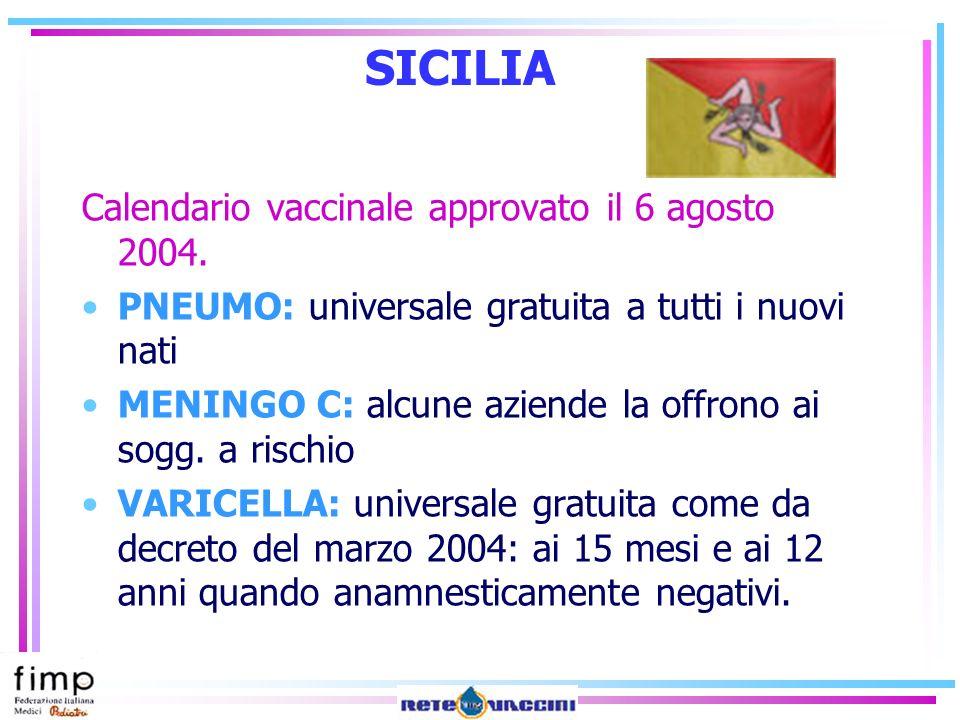 SICILIA Calendario vaccinale approvato il 6 agosto 2004.