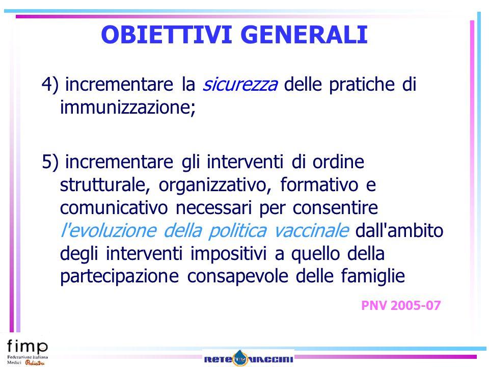 OBIETTIVI GENERALI 4) incrementare la sicurezza delle pratiche di immunizzazione;