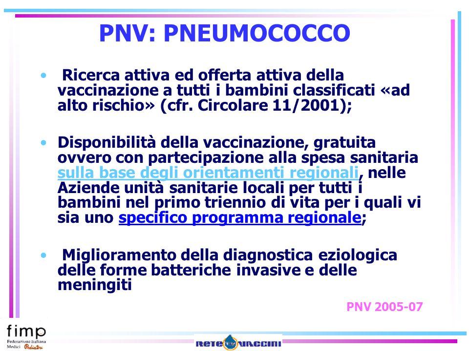 PNV: PNEUMOCOCCORicerca attiva ed offerta attiva della vaccinazione a tutti i bambini classificati «ad alto rischio» (cfr. Circolare 11/2001);