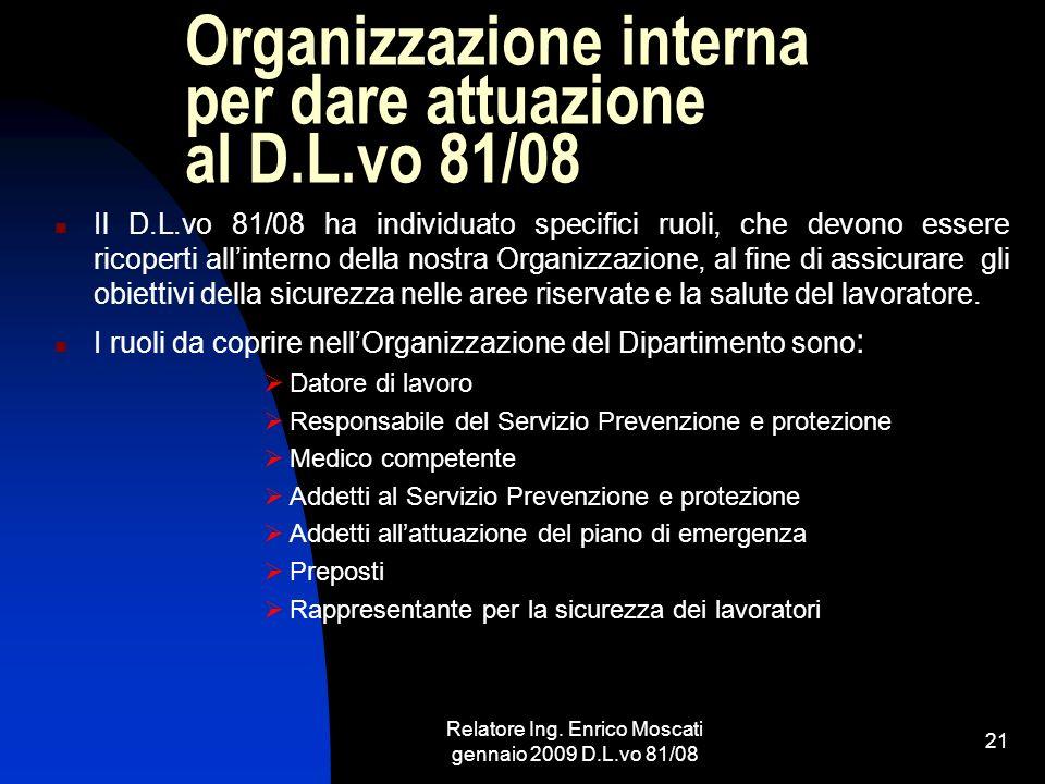 Organizzazione interna per dare attuazione al D.L.vo 81/08