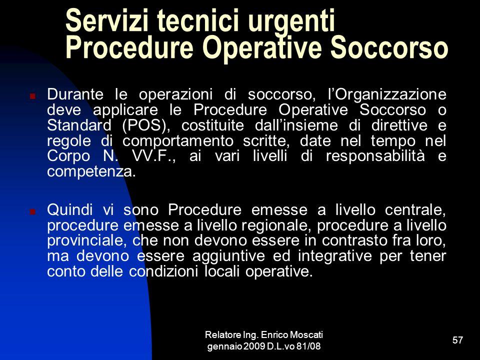 Servizi tecnici urgenti Procedure Operative Soccorso