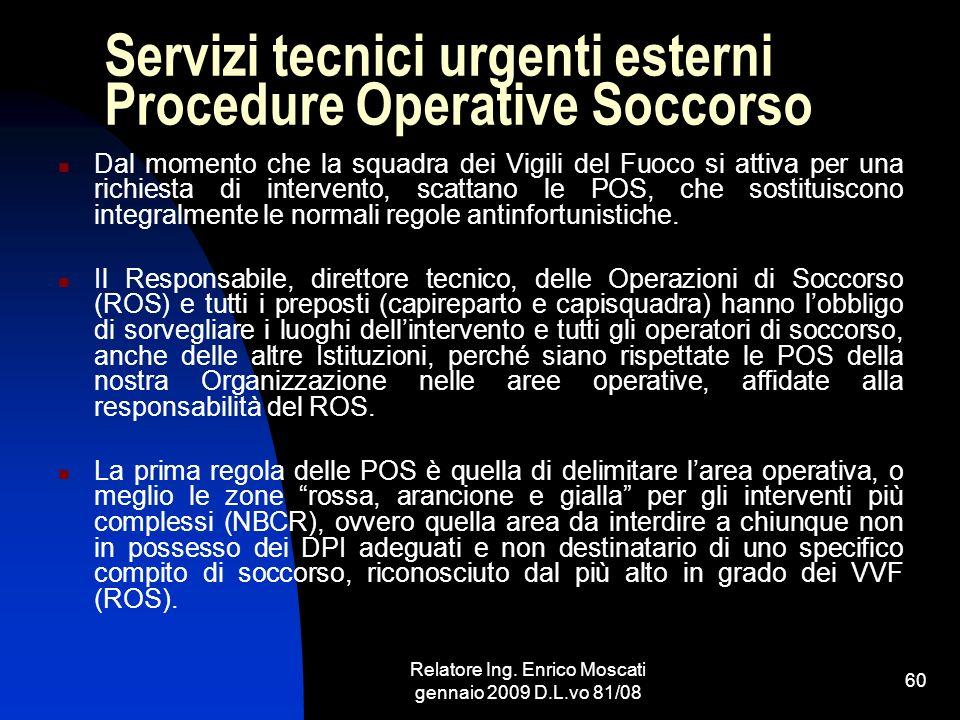 Servizi tecnici urgenti esterni Procedure Operative Soccorso