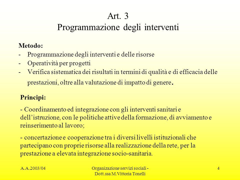 Art. 3 Programmazione degli interventi