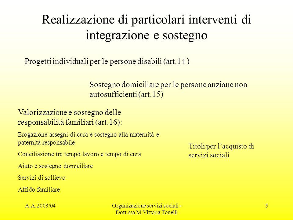 Realizzazione di particolari interventi di integrazione e sostegno