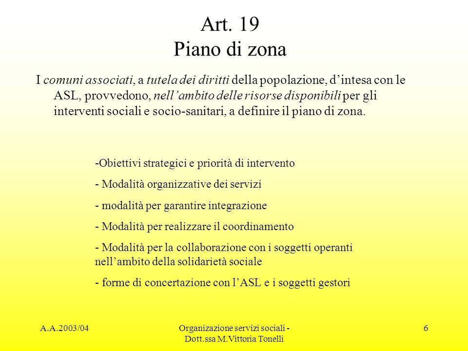 Organizazione servizi sociali - Dott.ssa M.Vittoria Tonelli