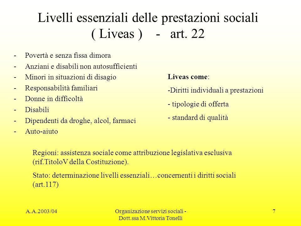 Livelli essenziali delle prestazioni sociali ( Liveas ) - art. 22
