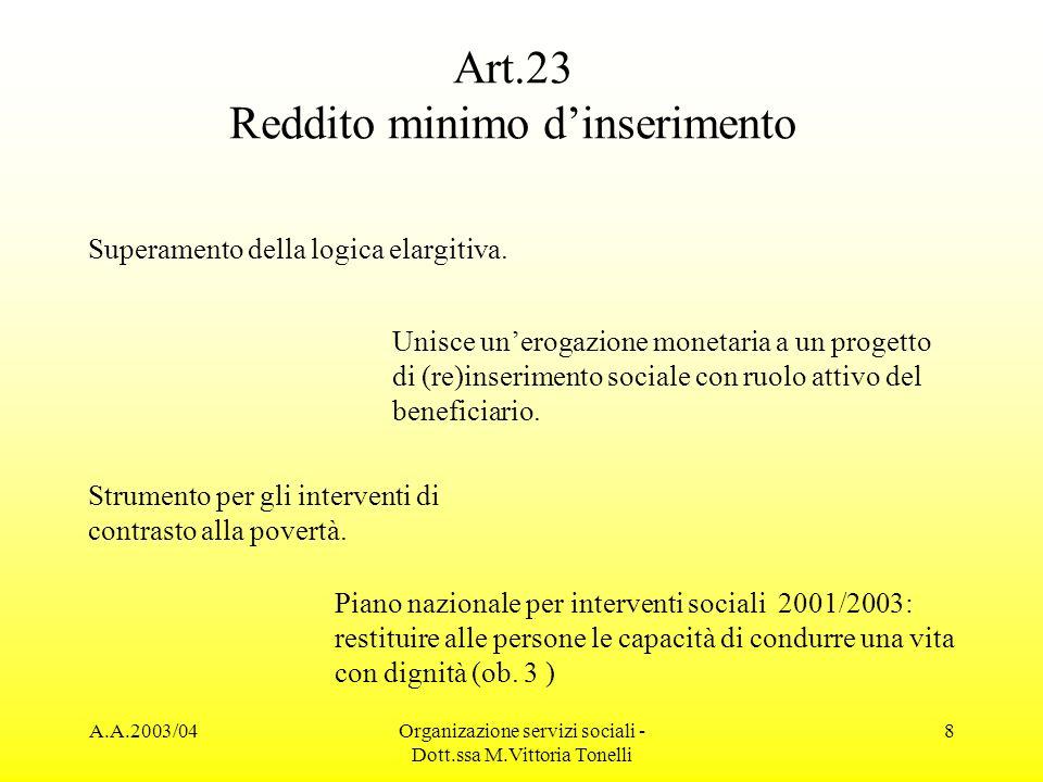 Art.23 Reddito minimo d'inserimento
