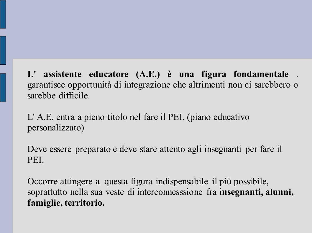 L assistente educatore (A. E. ) è una figura fondamentale