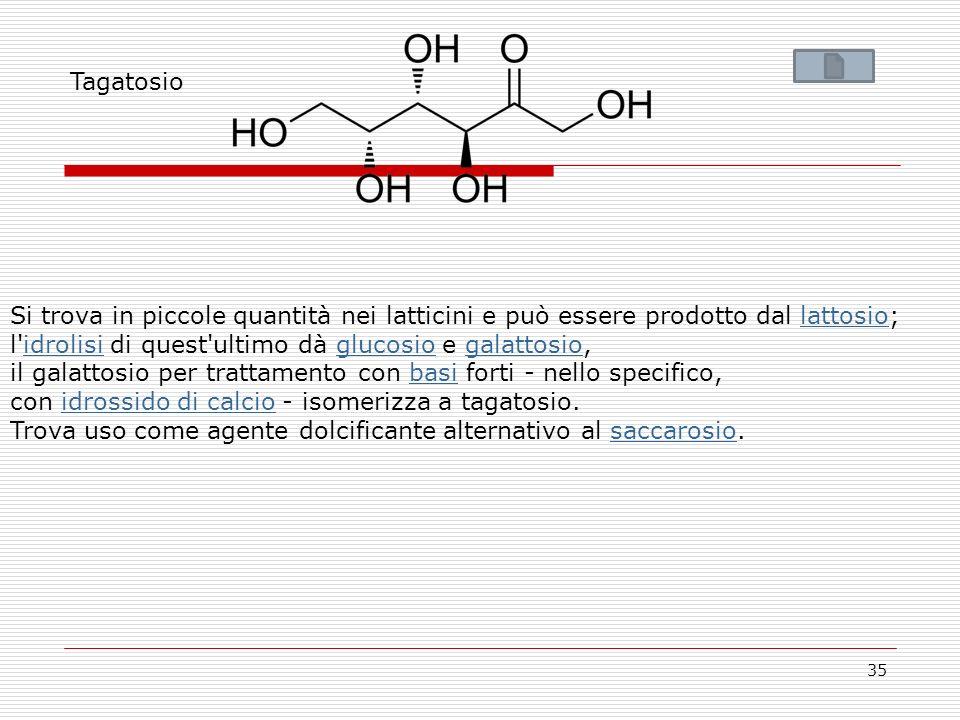 Tagatosio Si trova in piccole quantità nei latticini e può essere prodotto dal lattosio; l idrolisi di quest ultimo dà glucosio e galattosio,