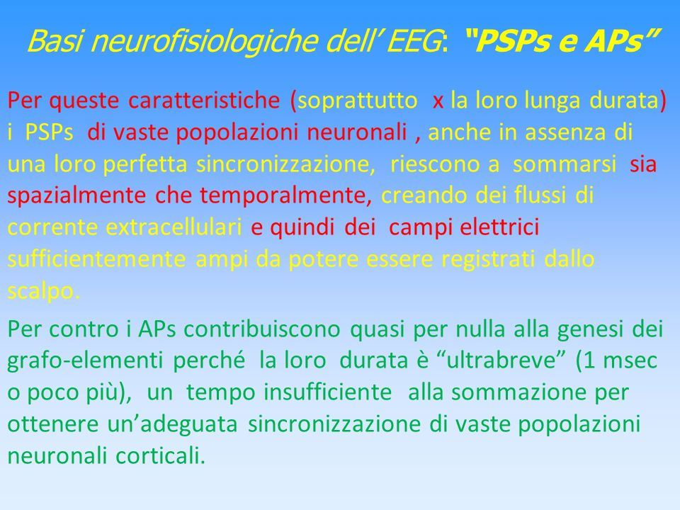 Basi neurofisiologiche dell' EEG: PSPs e APs