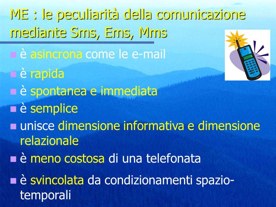 ME : le peculiarità della comunicazione mediante Sms, Ems, Mms