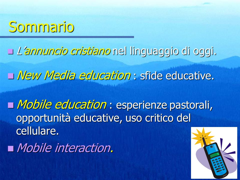 Sommario New Media education : sfide educative.