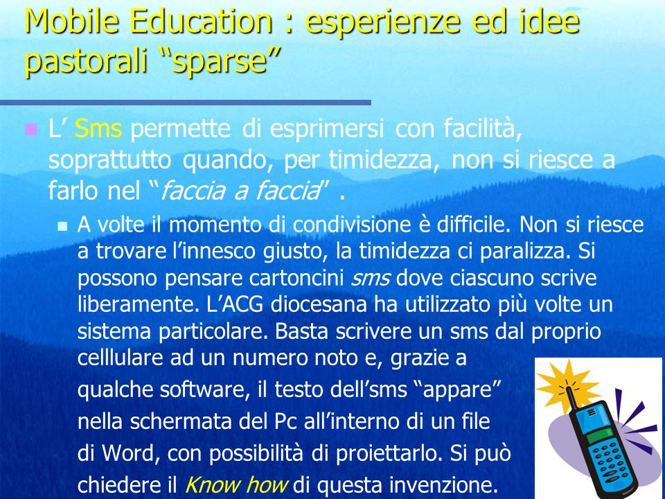 Mobile Education : esperienze ed idee pastorali sparse