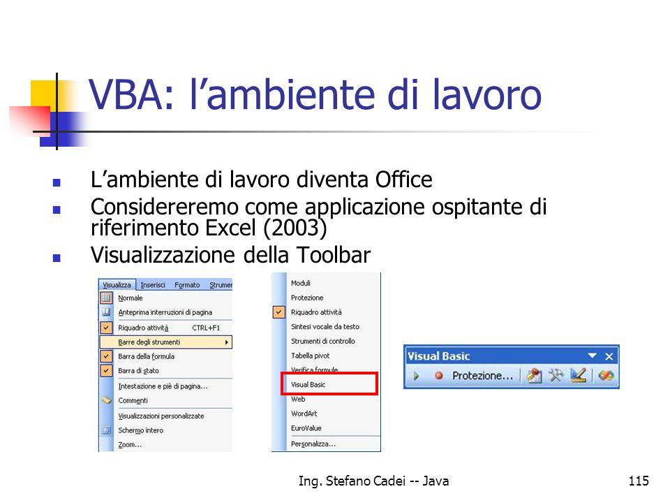 VBA: l'ambiente di lavoro