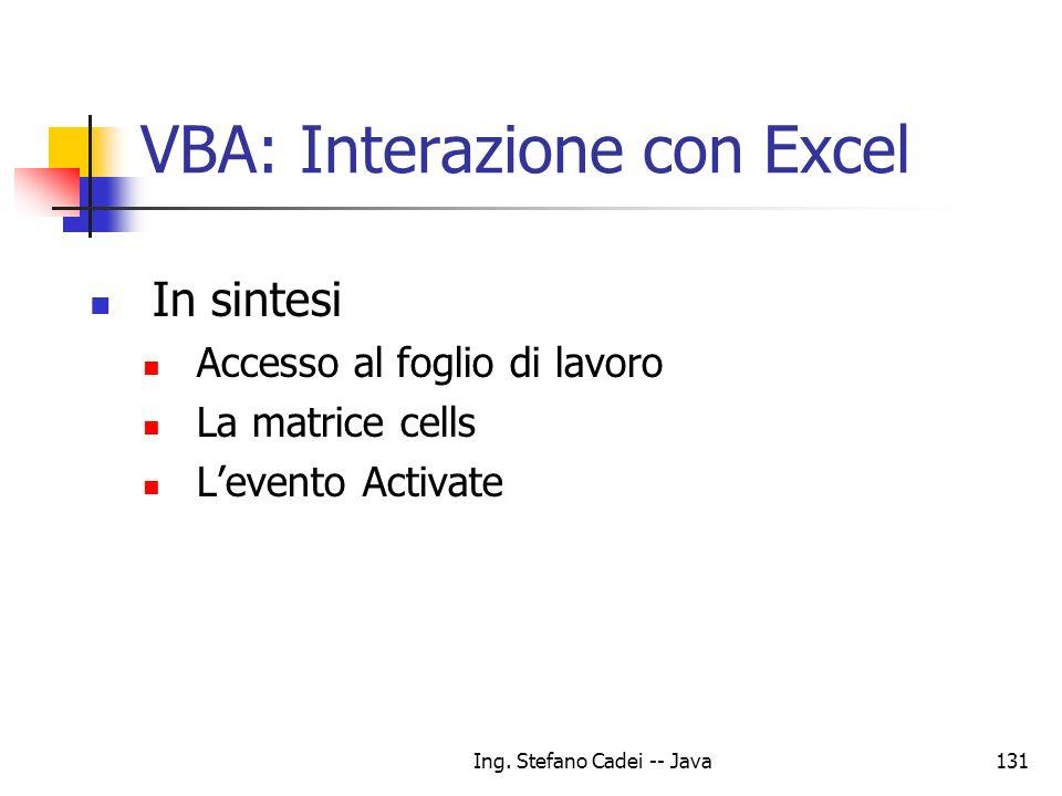 VBA: Interazione con Excel