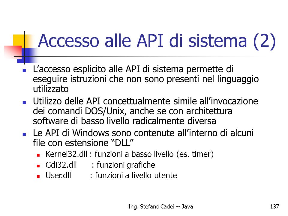 Accesso alle API di sistema (2)