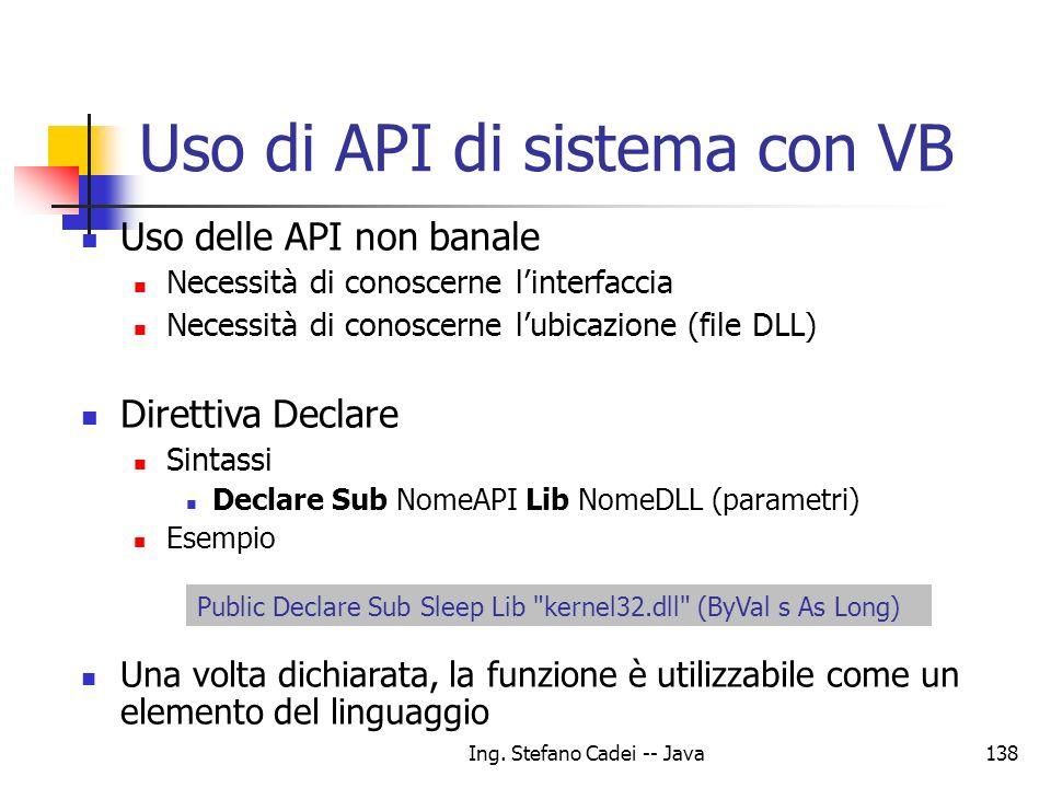 Uso di API di sistema con VB