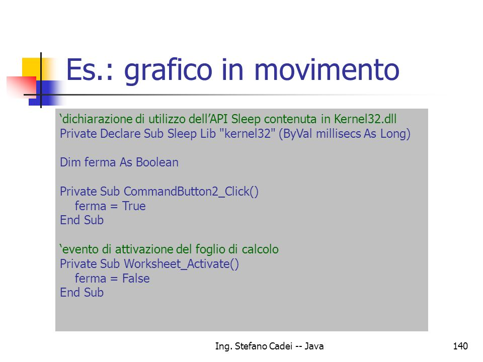 Es.: grafico in movimento