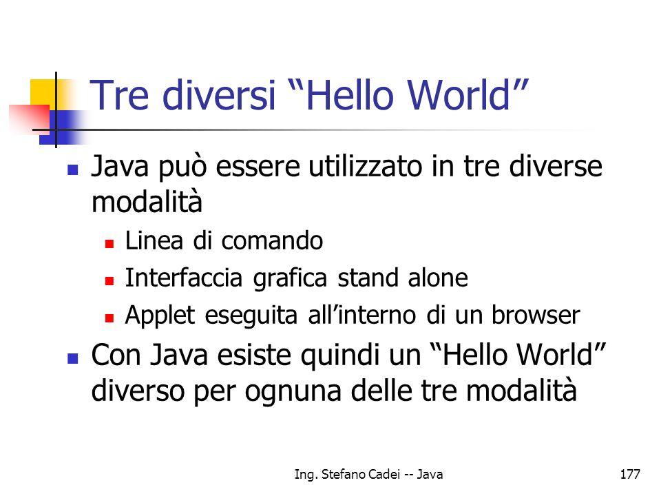 Tre diversi Hello World
