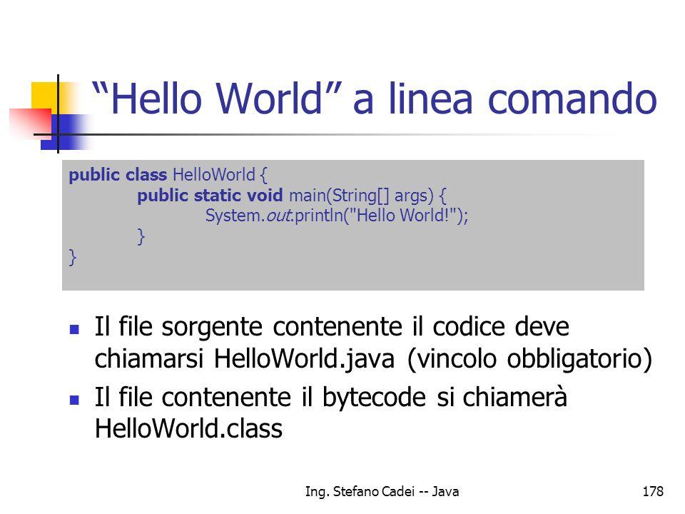 Hello World a linea comando