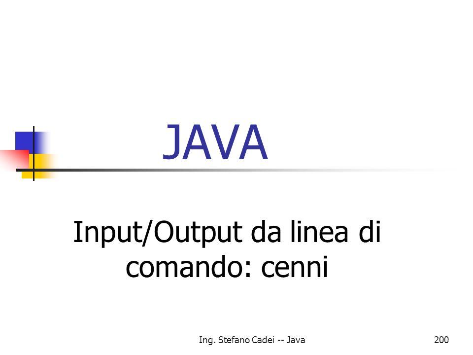 Input/Output da linea di comando: cenni