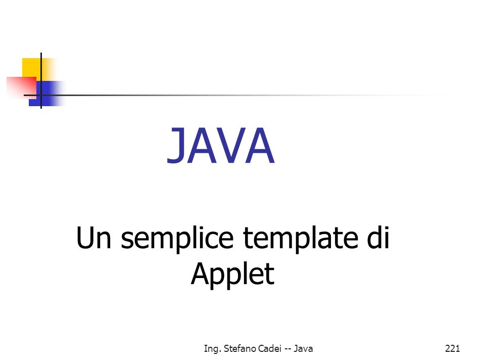Un semplice template di Applet