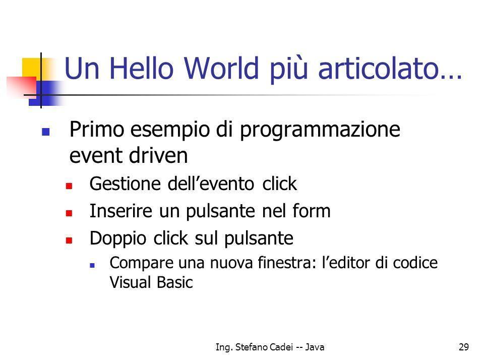 Un Hello World più articolato…