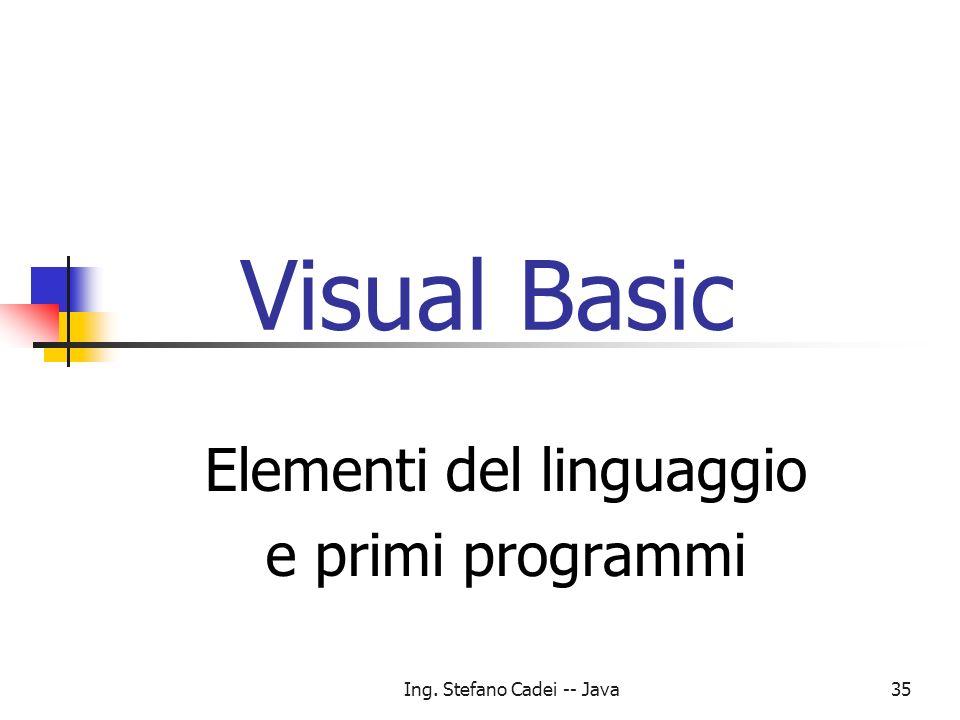 Elementi del linguaggio e primi programmi