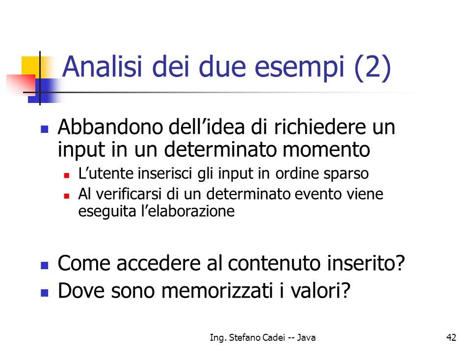 Analisi dei due esempi (2)