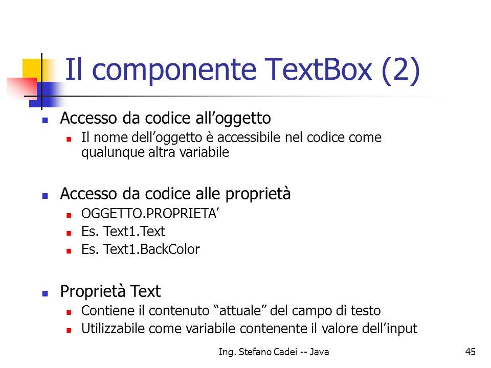 Il componente TextBox (2)