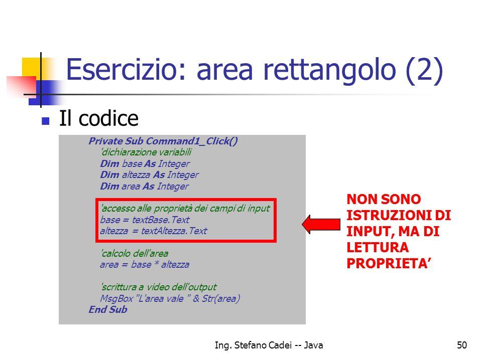 Esercizio: area rettangolo (2)